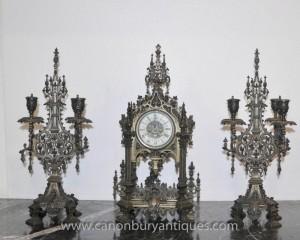 Anglais gothique victorien horloge Garniture Candélabres