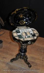 Antique Mère de Coussin Perle Papier mâché Pin Table couture Set