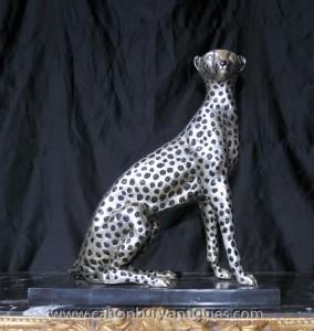 Art Déco Argent Bronze Cheetah Cat Statue Lions Feline Castings