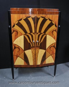 Art Déco Cocktail Boissons Cabinet Chest Inlay Meubles
