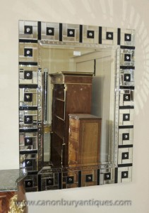 Art Déco verre Mantle Miroir 1920 Miroirs