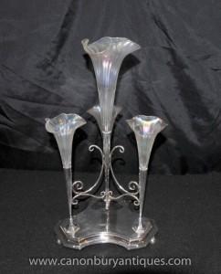 Art Nouveau Argent Plate épergne Centrepiece Rose Vase