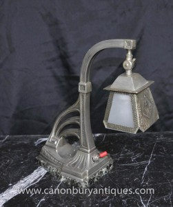 Art Nouveau Argent Plate Light Table Lamp Étain