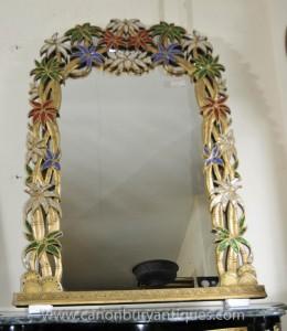 Art Nouveau français Pier Mirror Tropical Floral Miroirs Frame