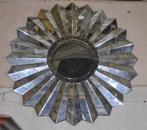 Art déco français étoile Burst Mirror verre Miroirs