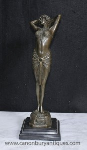Art déco français Reveil Bronze Dancer Figurine Signé Philips