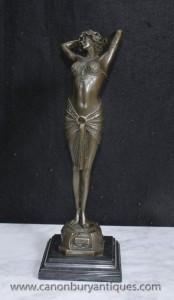 Art déco français Reveil Bronze Dancer Figurine Signé Philips