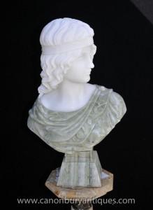 Buste en marbre italien déesse grecque Athéna pierre sculptée Statue