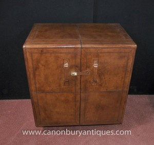 Campagne meubles anglais cuir boissons Cabinet Cocktail Chest