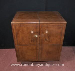Campagne meubles anglais cuir boissons Cabinet Cocktail Chest