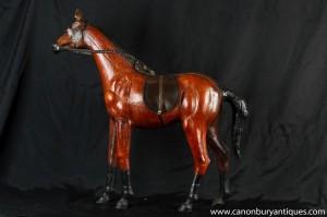 Cuir vintage anglais Cheval Chevaux Statue équestre Poney