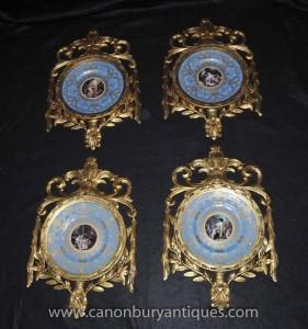 Définissez français porcelaine de Sèvres Plaques plaques de cadre doré