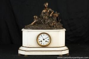 Empire français marbre Bronze Figurine Pendule