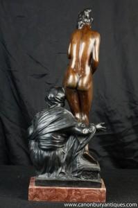 Femme nue et arabe Homme Bronze Statue Figurine