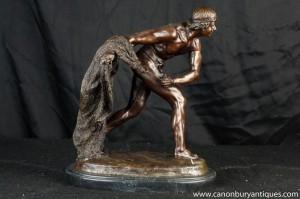 Français Bronze Gladiateur Statue Distribution des rôles Tony Roman Noel