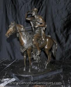 Français Bronze arabes à cheval Signé F Palutrot Cheval Statue Castings