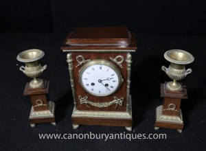 Français Empire Acajou Pendule Garniture Set