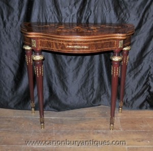 Français Louis XV Table carte Console de Hall Tables Jeux Demi Lune