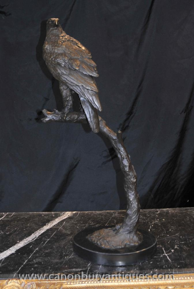 Grand Bronze Golden Eagle Statue Perch proie Oiseau Sculpture