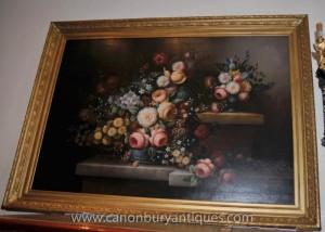 Grand Victorian Floral Peinture à l'huile Still Life cadre doré