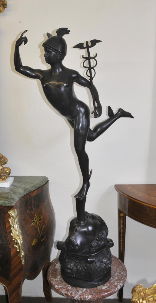 Grand italienne Bronze Hermes Mercury Statue classique Mythe Figurine