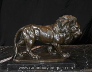 Italien Lion de Bronze Statue Signée Giainbologna Animaux Chats Bronzes