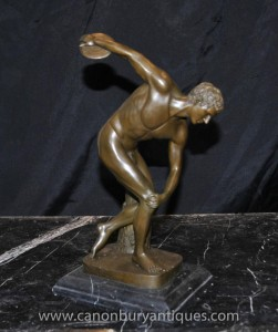 Italienne Bronze Nude Discobole Statue Athlète masculin