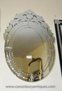 Italienne verre vénitien Miroir miroirs gravés
