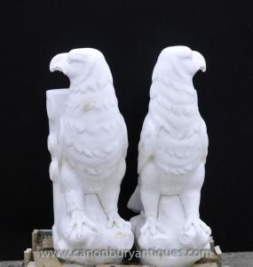 Main Paire marbre sculpté Aigle Stands tableaux italienne pierre