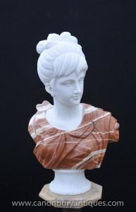Marbre italien Buste géorgienne Lady Femme Sculpté à la main Statue