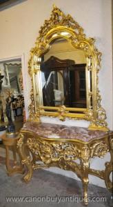 Miroir Table Français Louis XV Gilt Console Set de Hall Tables