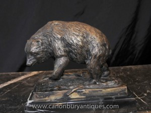 Ours de bronze Statue Signée prince Brown Bears Animaux Castings