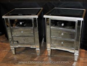 Paire Art déco miroir chevet poitrine Tiroirs Tables de chevet