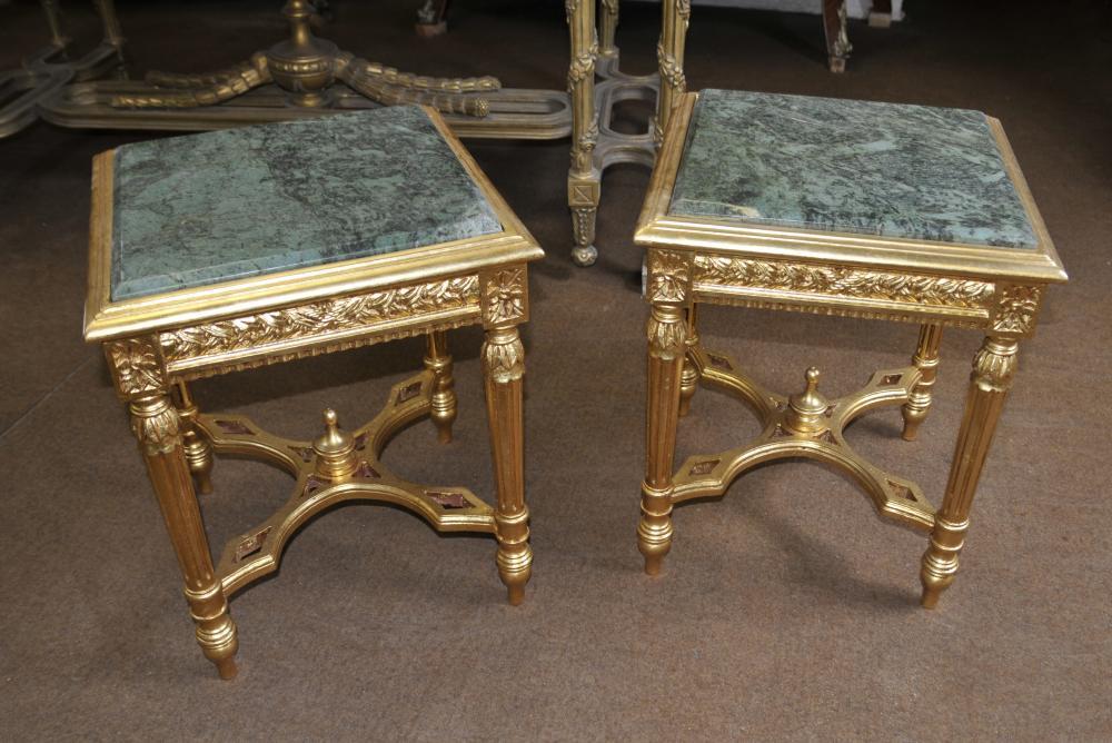 Paire Empire français Gilt Side Tables Cocktail Table