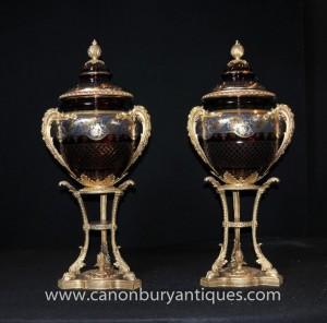 Paire Grand Cut Russie verre Urnes Vases Stands cristal Imperial