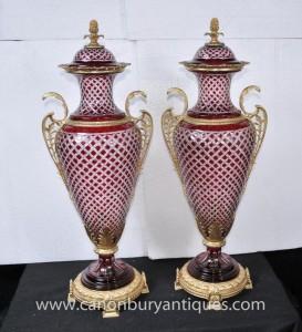 Paire Grand Empire verre Amphora Urnes Vases français Ormolu