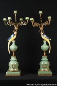 Paire Grandes français porcelaine Parrot Candélabres Bougies