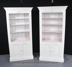Paire Peintes Cuisine Oak Armoires Dresser Potboard Ferme Bibliothèque