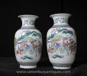 Paire Qianlong Porcelaine Urnes Vases de poterie chinoise