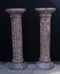 Paire classique marbre italien colonne dorique Stands Colonnes piédestal