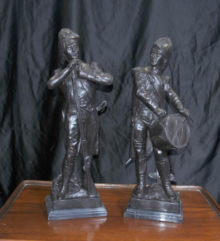 Paire français Bronze soldats Bataille de Waterloo Napoléon