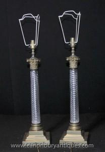 Paire français Cut Glass Doric Colonne lampes de table Lumières