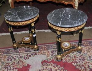 Paire français Louis XV Sèvres tables de cocktail de Side