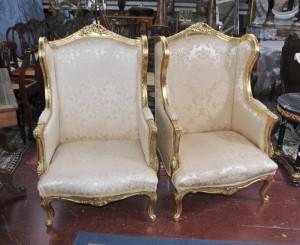 Paire français Louis XV fauteuils fauteils Sofa Seat haut Retour