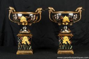 Paire française Porcelaine Campana Urnes socle du Bain pour oiseaux