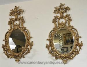 Paire rococo français Girandole Miroirs miroir Candélabres Louis XVI