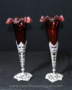 Paire victorienne Argent Plate Rose Vases Cut Glass Vase
