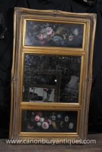 Peinture Mantle Miroir huile victorienne cadre doré Floral Still Life