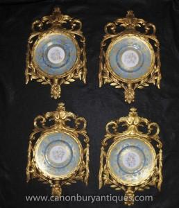 Réglez Sèvres Cherub porcelaine célestes Plaques Plaques dans cadre doré