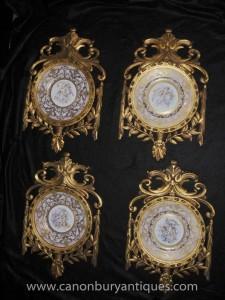 Réglez porcelaine de Sèvres Chérubin Plaques Plaques cadre doré